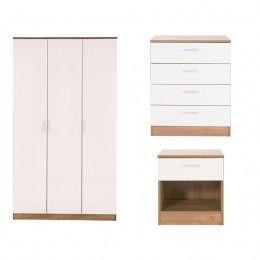 Ottawa 3 Piece Bedroom Set 3 Door Wardrobe 4 Drawer Chest Bedside Cabinet Oak