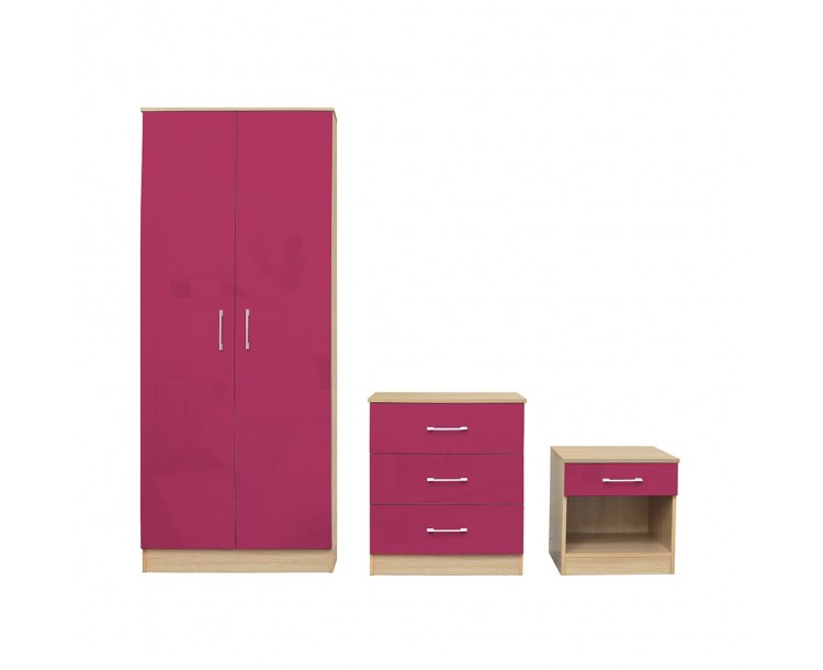 Dakota Pink Bedroom Set Laminated High Gloss Fronts