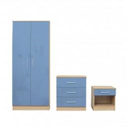 Dakota Blue Bedroom Set Laminated High Gloss Fronts