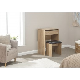 Modern Oak Compact Lift Up Mirror Hidden Storage Dressing Table Stool Set