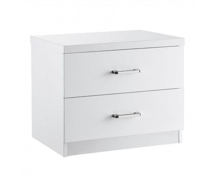 Novello 2 Drawer Bedside Cabinet White