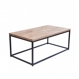 Mirelle Coffee Table Solid Oak Black Metal Frame
