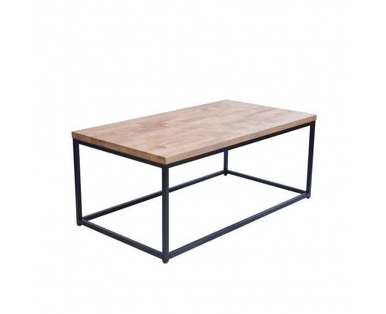 Mirelle Coffee Table Solid Oak Black Metal Frame