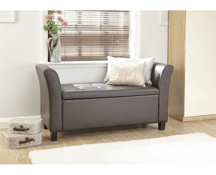 Verona Window Seat Faux Leather Large Ottoman Storage Box Bench Foot Stool Brown