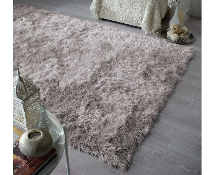 Contemporary Warm Silver Dazzle Shaggy Rug