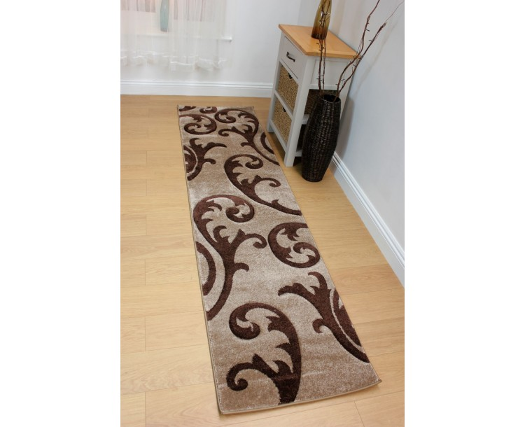 Beige & Brown Two Tone Floral Elude Rug