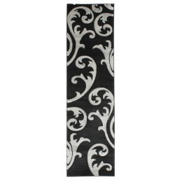 Grey & Black Hand Carved Elude Runner Rug