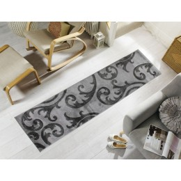 Contemporary Grey Hand Carved Elude Runner Rug