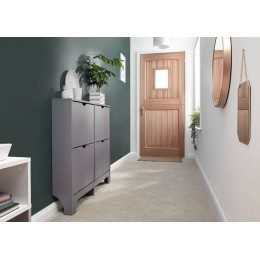Narrow 4 Drawer Shoe Cabinet in Grey