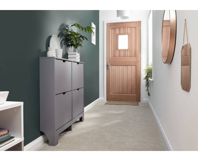 Narrow 4 Drawer Shoe Cabinet in Grey
