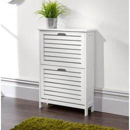 Bergen Two Tier Shoe Cabinet White