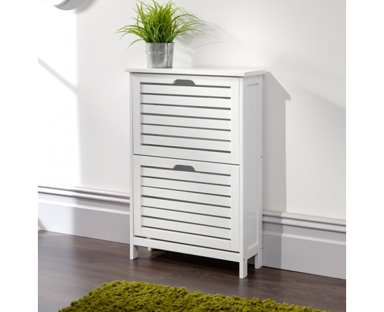 Bergen Two Tier Shoe Cabinet White