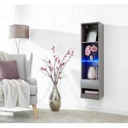 Galicia Tall Shelf Unit in Grey with Led