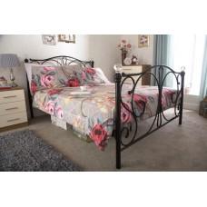 Panache Crystal 4FT6 Metal Bedframe Black