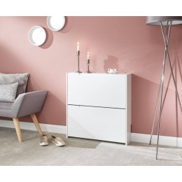 Narrow High Gloss 2 Tier Shoe Cabinet in White