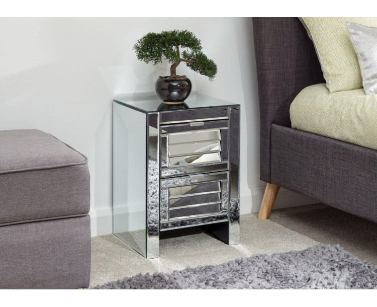 Antigua 2 Drawer Louvered Chest Mirrored