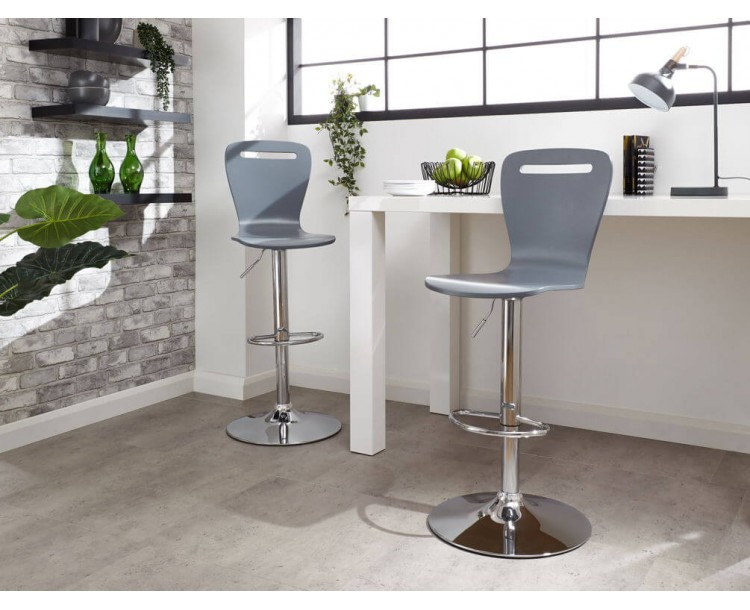 Long Island Bar Stools Pair in Grey