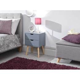 Nyborg Single 2 Drawer Bedside Dark Grey