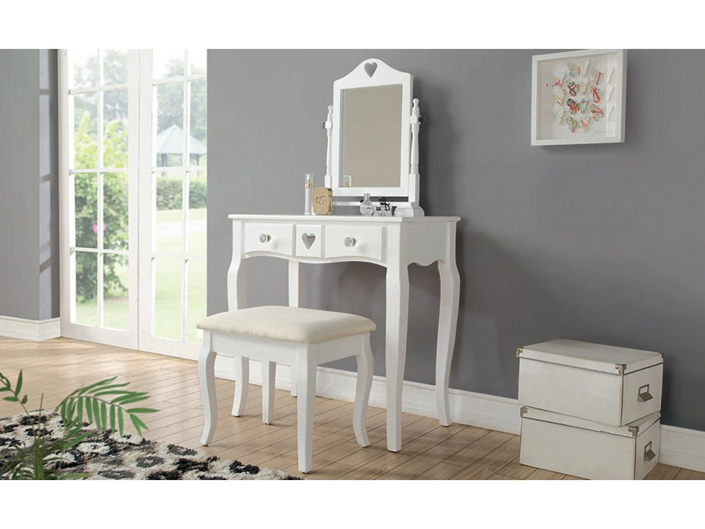 Contemporary White Heart Design Dressing Table With Padded Stool
