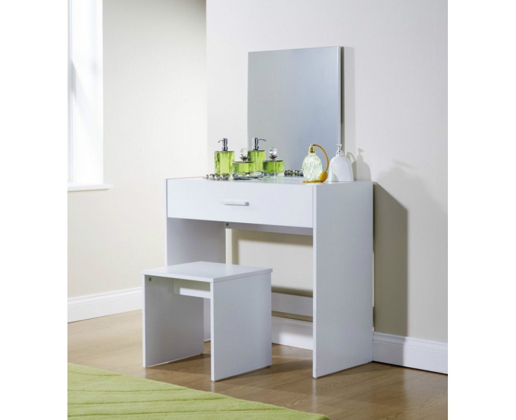 Julia White Vanity Make Up Table in White