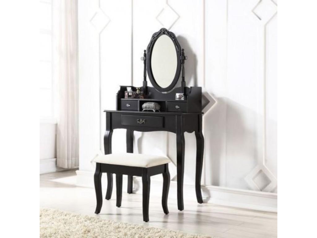 Astounding Black Lumberton Mirror Dressing Table With Padded Stool Set Evergreenethics Interior Chair Design Evergreenethicsorg