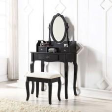 Lumberton Dressing Table Set Black With Padded Stool Set