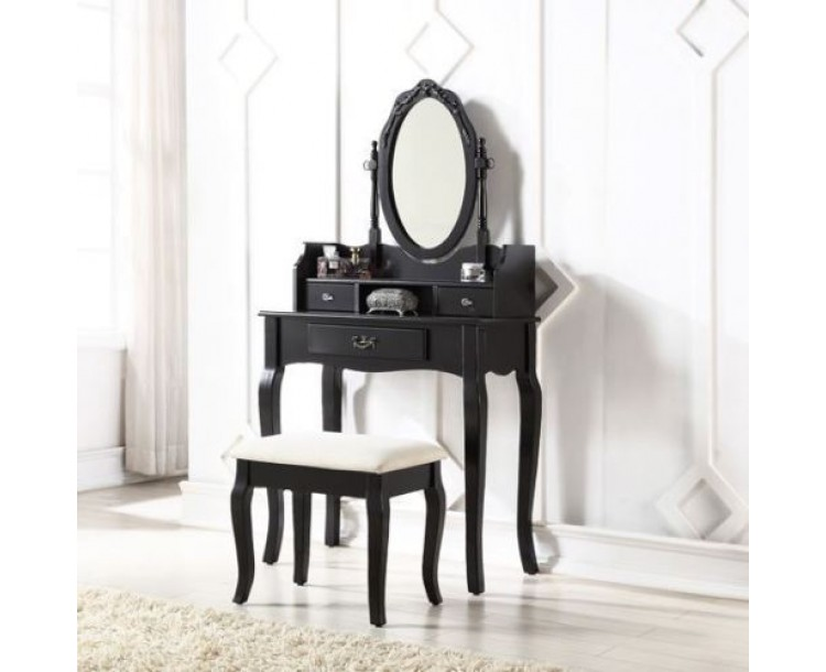 Lumberton Dressing Table Set Black With Padded Stool Set