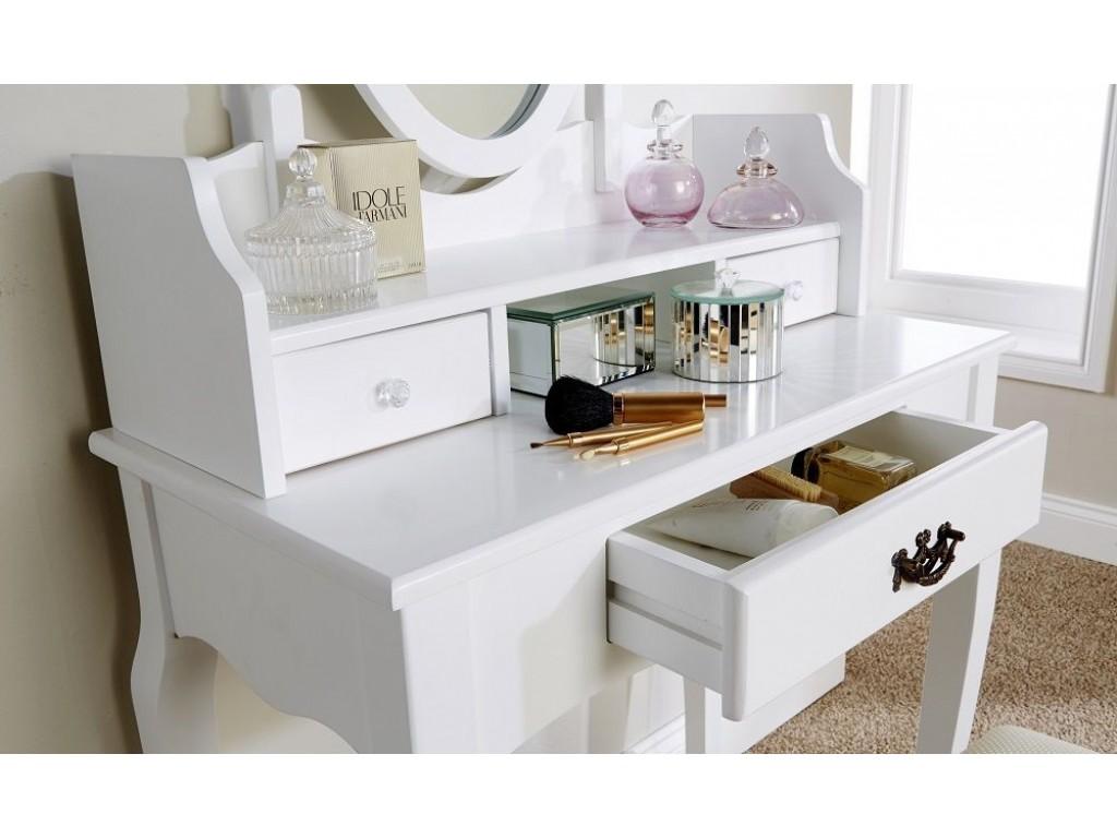 White Lumberton Mirror Dressing Table With Padded Stool Set