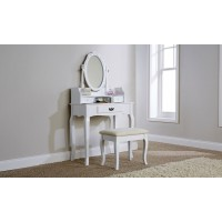 Lumberton Dressing Table Set White With Padded Stool Set