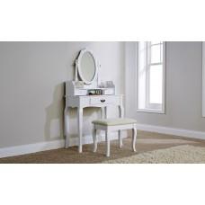 Lumberton Dressing Table Set White With Padded Stool Set