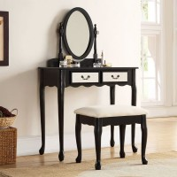 Mirrored Dressing Table Set Black With Padded Stool and Mirror