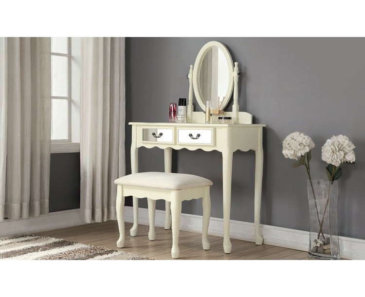 Mirrored Dressing Table Set Ivory With Padded Stool and Mirror