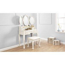 Arabella Triple Mirrored Ivory Dressing Table with Stool