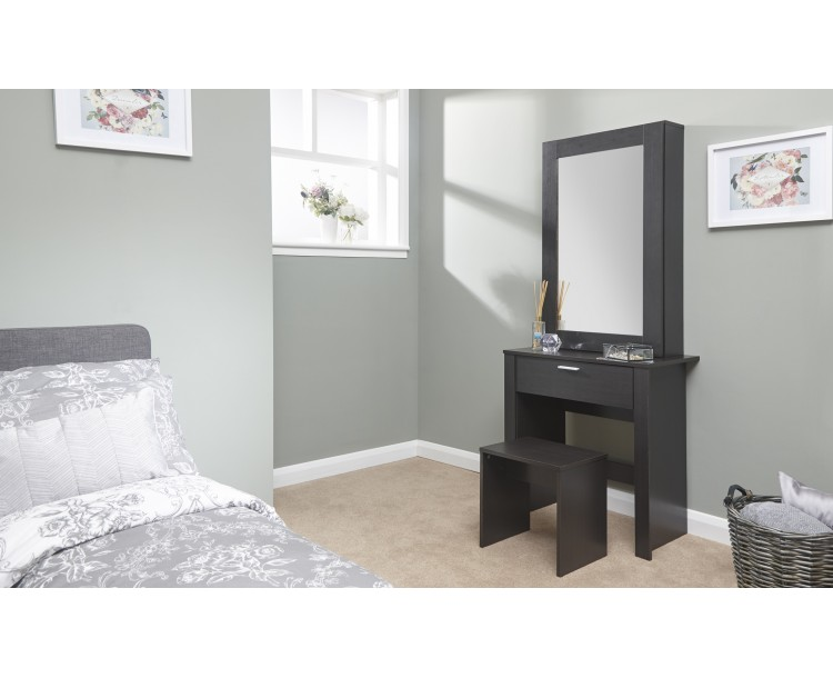 Hobson Espresso Dressing Table Sliding Mirror Modern Design