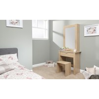Hobson Oak Dressing Table Sliding Mirror Modern Design