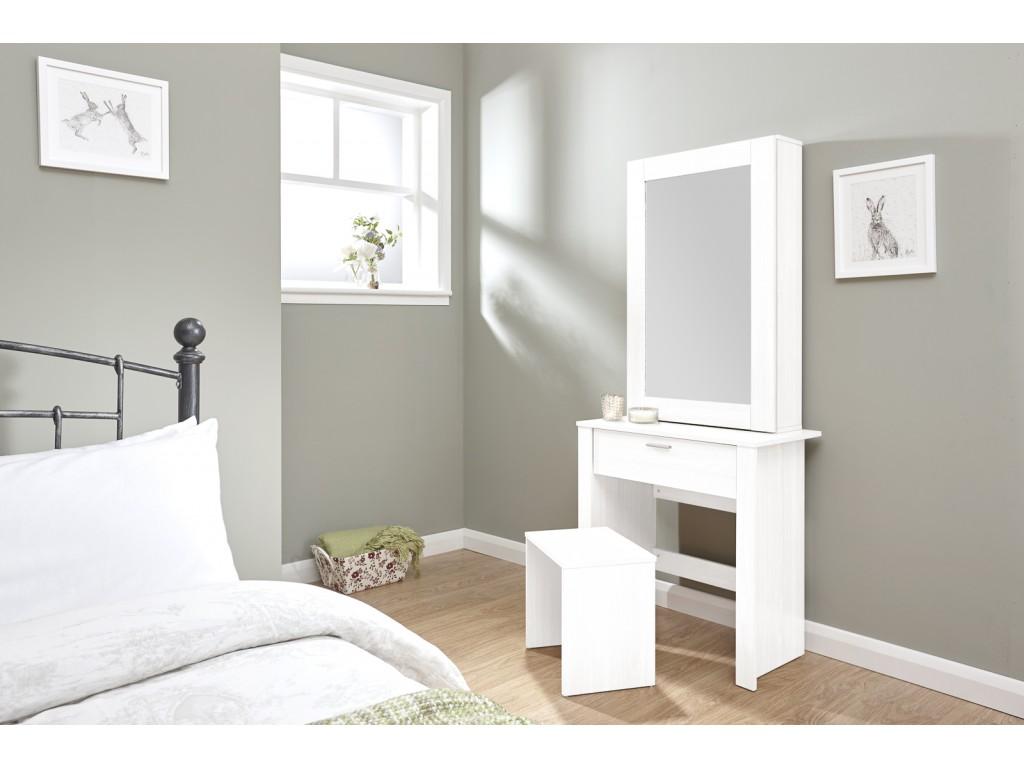 White Hobson Dressing Table Sliding Mirror Stool Set Bedroom