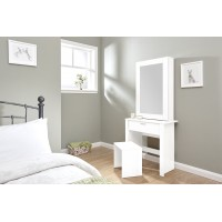 Hobson White Dressing Table Sliding Mirror Modern Design