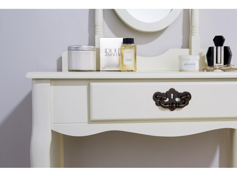 Queen Anne Dressing Table Set Ivory With Padded Stool