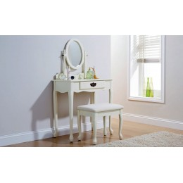 Queen Anne Dressing Table Set Ivory With Padded Stool Set
