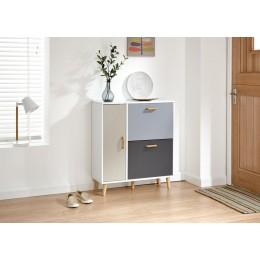 Delta Shoe Cabinet White/Grey Multi