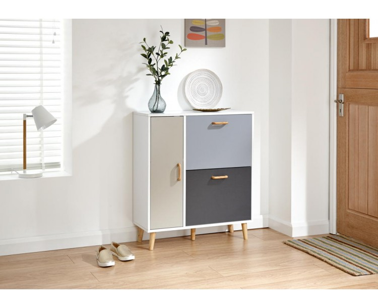 Delta Shoe Cabinet White/Grey Multi