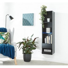 Galicia Tall Shelf Unit In Black With Led Lights