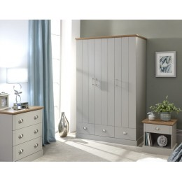 Kendal 3 Door 3 Drawer Wardrobe Grey