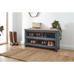 Lancaster Simple Shoe Bench Slate Blue