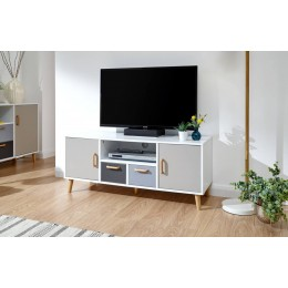 Delta Large TV Unit White/Grey Multi