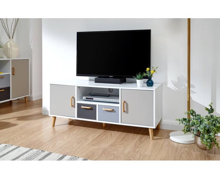 Delta Large TV Unit White/Grey Multi