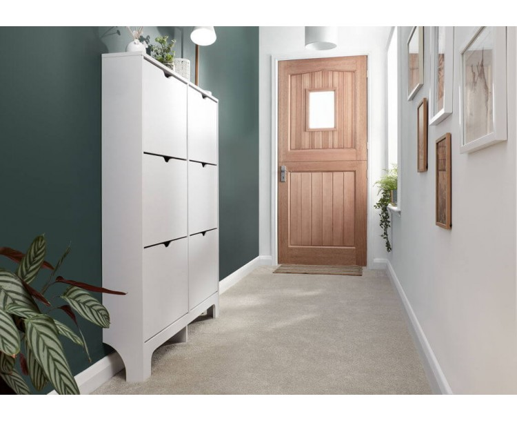 Narrow 6 Drawer Shoe Cabinet in White
