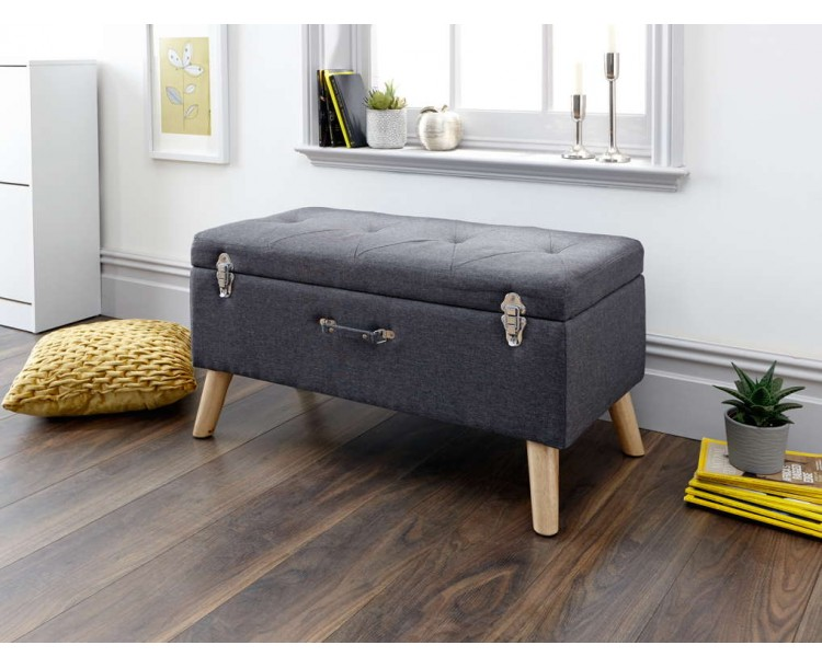 Minstrel Storage Ottoman Large Charcoal