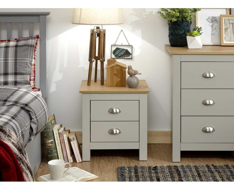 Lancaster 2 Drawer Bedside Grey