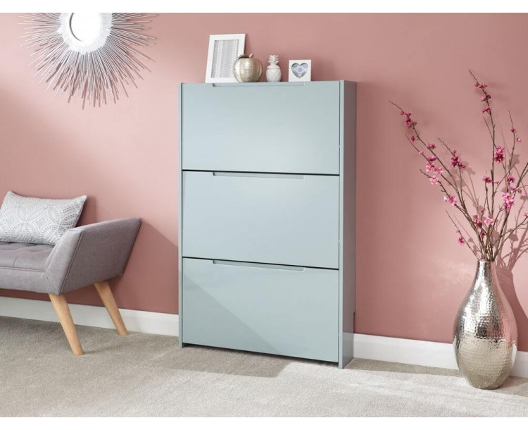 Narrow High Gloss 3 Tier Shoe Cabinet in Grey